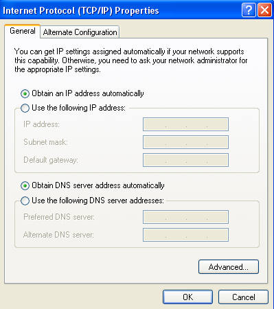 obtain ip and dns auto